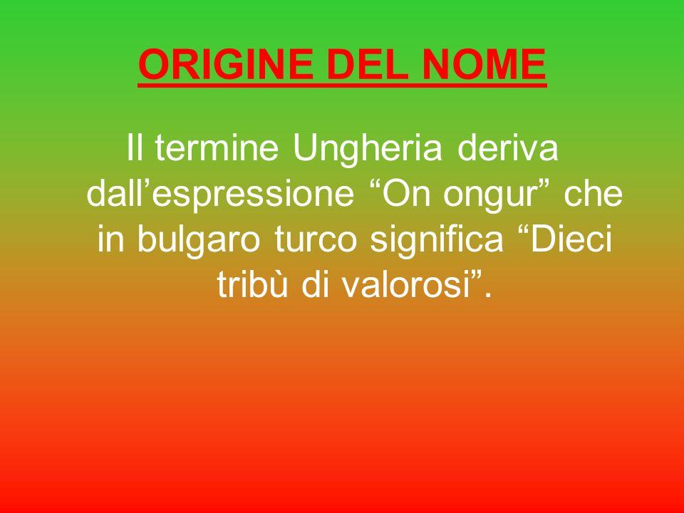 ORIGINE DEL NOME Il termine Ungheria deriva dall'espressione On ongur che in bulgaro turco significa Dieci tribù di valorosi .