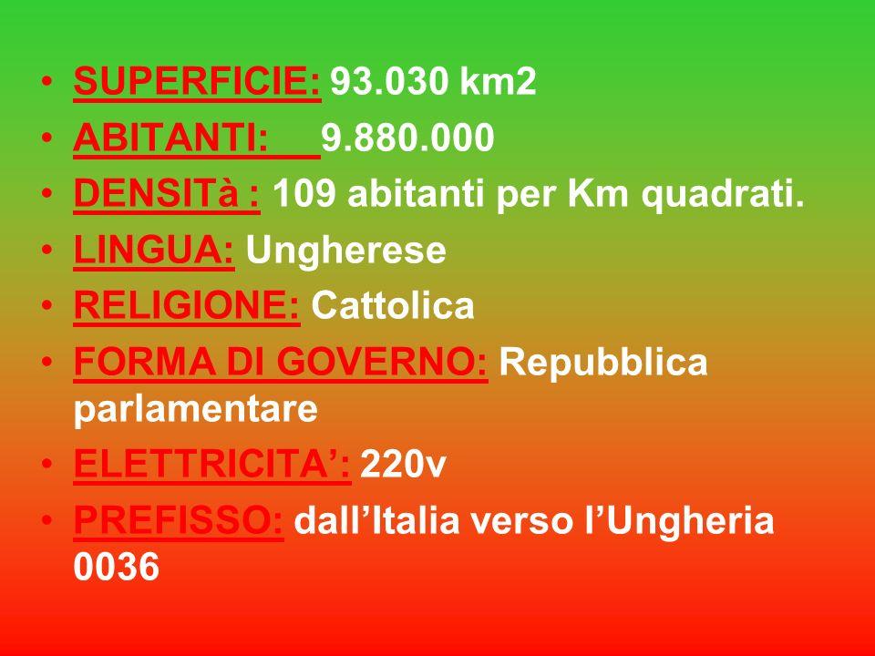 SUPERFICIE: 93.030 km2ABITANTI: 9.880.000. DENSITà : 109 abitanti per Km quadrati. LINGUA: Ungherese.