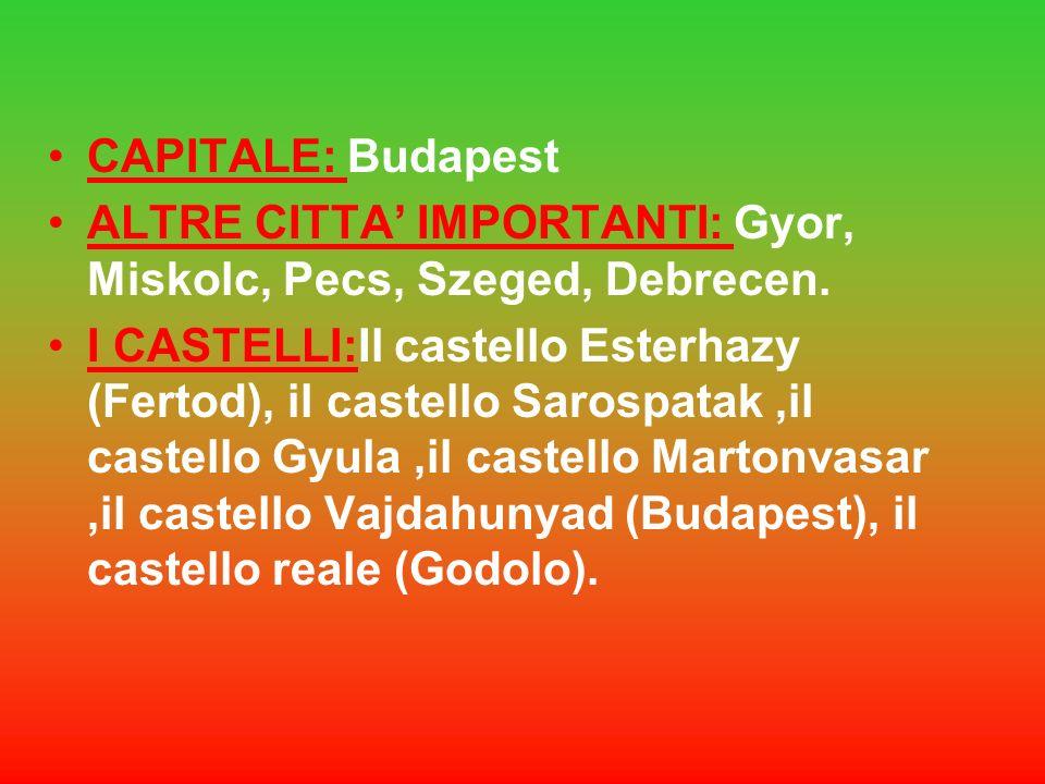 CAPITALE: BudapestALTRE CITTA' IMPORTANTI: Gyor, Miskolc, Pecs, Szeged, Debrecen.
