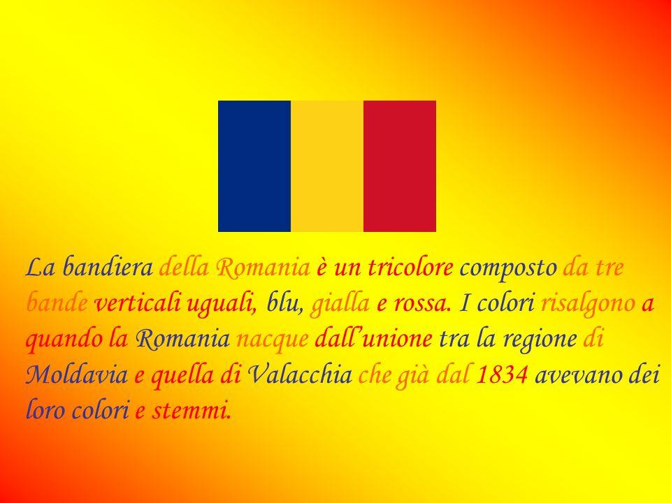 La bandiera della Romania è un tricolore composto da tre bande verticali uguali, blu, gialla e rossa.