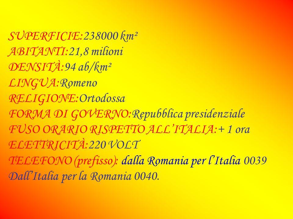 SUPERFICIE:238000 km²ABITANTI:21,8 milioni. DENSITÀ:94 ab/km². LINGUA:Romeno. RELIGIONE:Ortodossa. FORMA DI GOVERNO:Repubblica presidenziale.