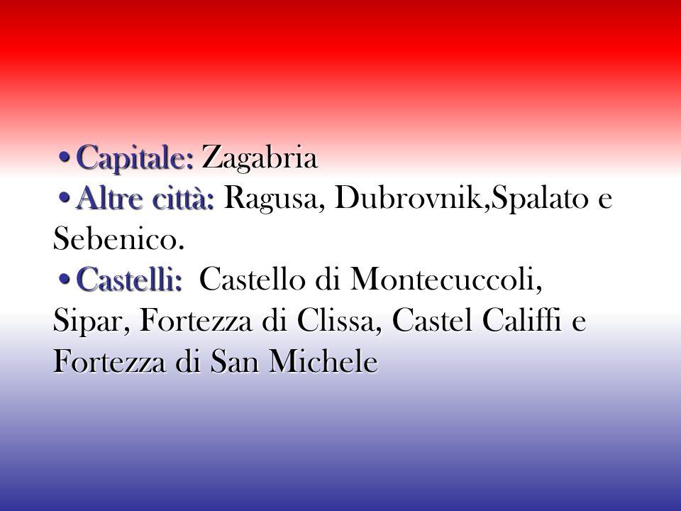 •Capitale: Zagabria •Altre città: Ragusa, Dubrovnik,Spalato e Sebenico.