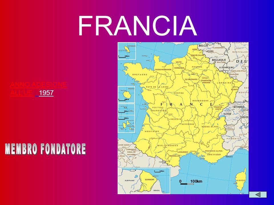 FRANCIA ANNO ADESIONE ALL'UE: 1957 MEMBRO FONDATORE