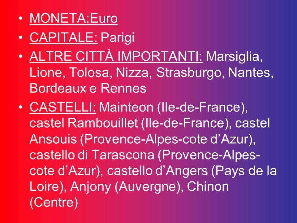 MONETA:Euro CAPITALE: Parigi. ALTRE CITTÀ IMPORTANTI: Marsiglia, Lione, Tolosa, Nizza, Strasburgo, Nantes, Bordeaux e Rennes.