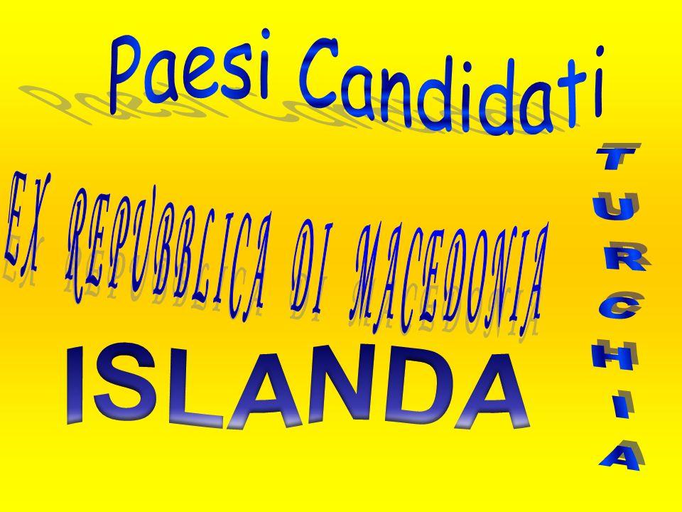 Paesi Candidati EX REPUBBLICA DI MACEDONIA TURCHIA ISLANDA
