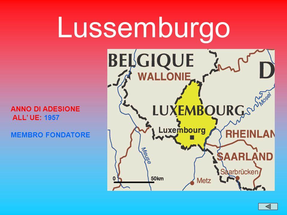 Lussemburgo ANNO DI ADESIONE ALL' UE: 1957 MEMBRO FONDATORE