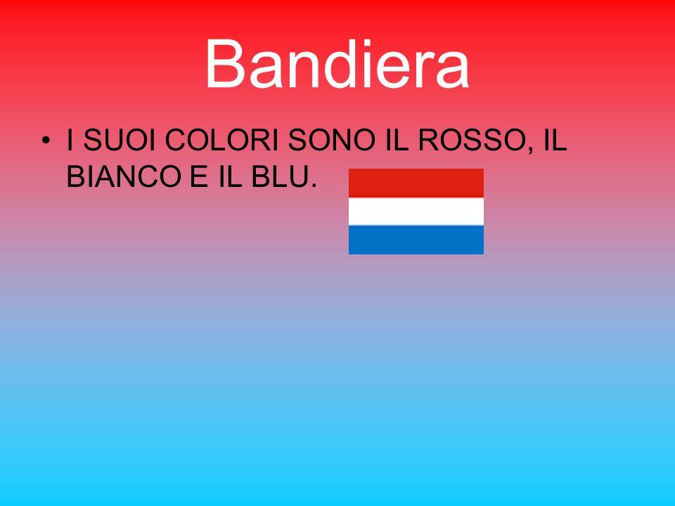 Bandiera I SUOI COLORI SONO IL ROSSO, IL BIANCO E IL BLU.