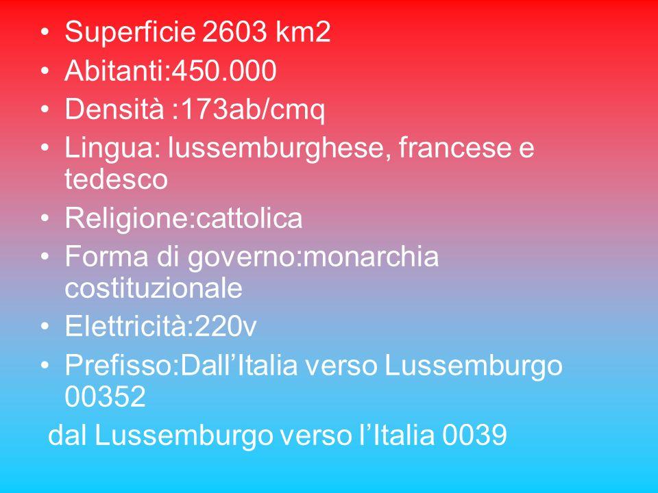 Superficie 2603 km2 Abitanti:450.000. Densità :173ab/cmq. Lingua: lussemburghese, francese e tedesco.