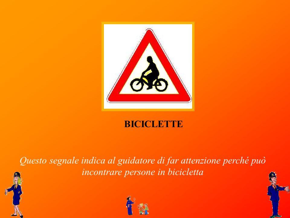 BICICLETTE Questo segnale indica al guidatore di far attenzione perché può incontrare persone in bicicletta.