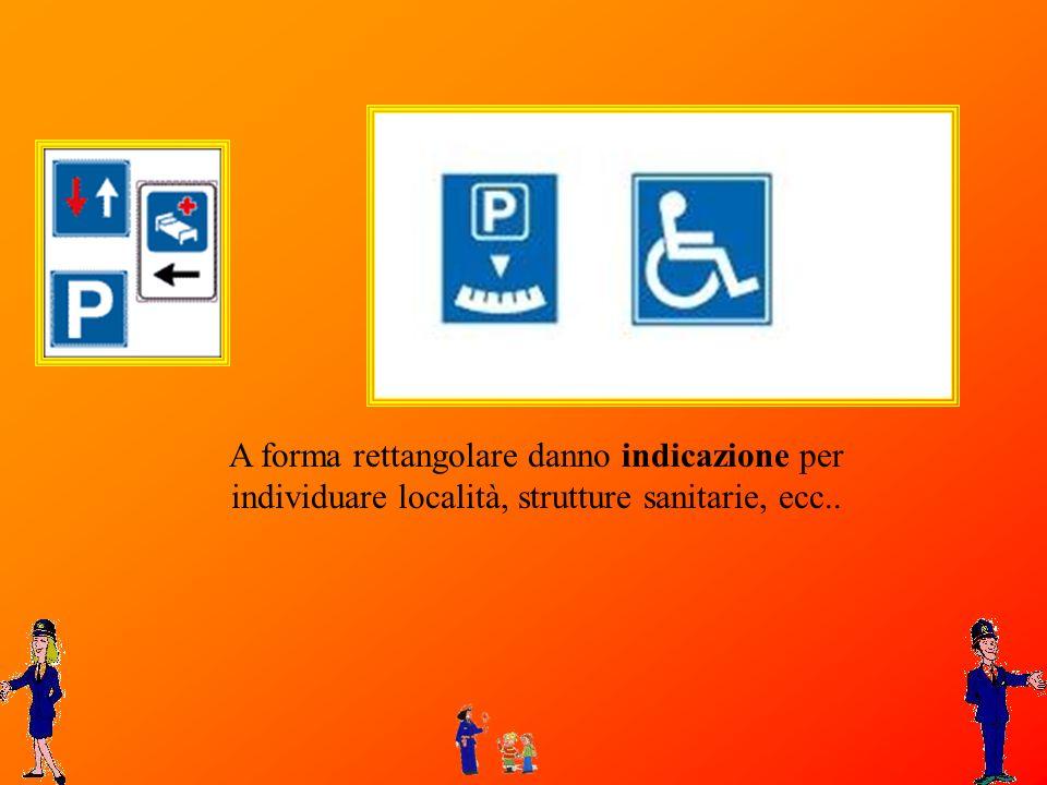 A forma rettangolare danno indicazione per individuare località, strutture sanitarie, ecc..