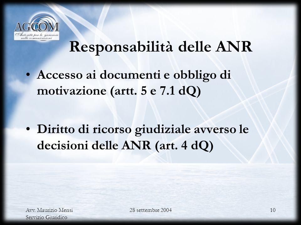 Responsabilità delle ANR