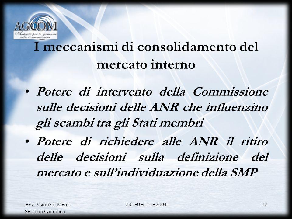 I meccanismi di consolidamento del mercato interno