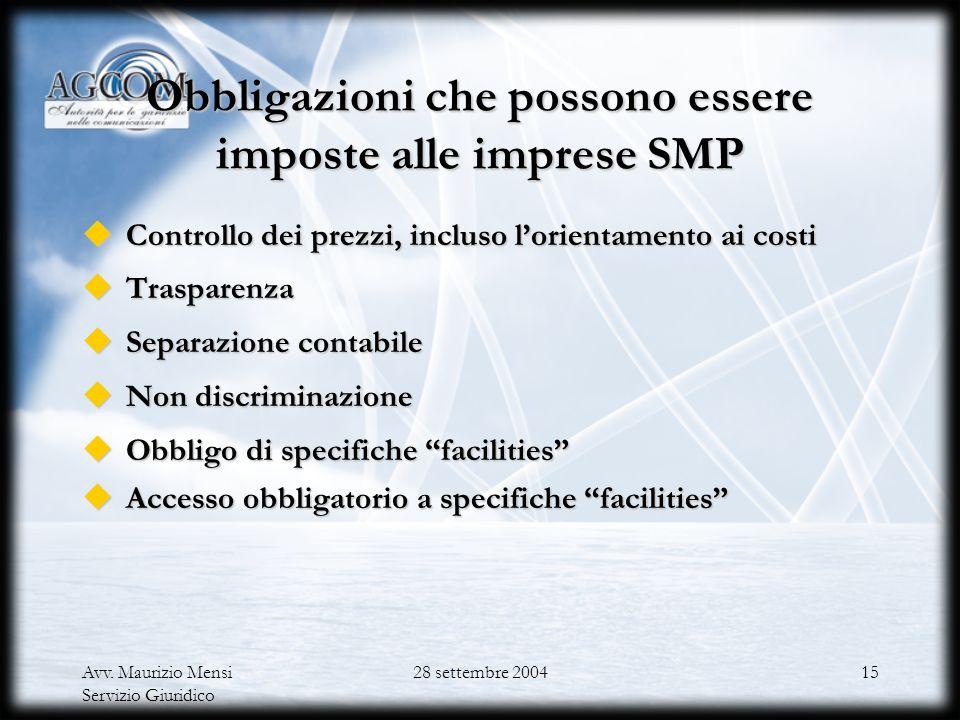 Obbligazioni che possono essere imposte alle imprese SMP