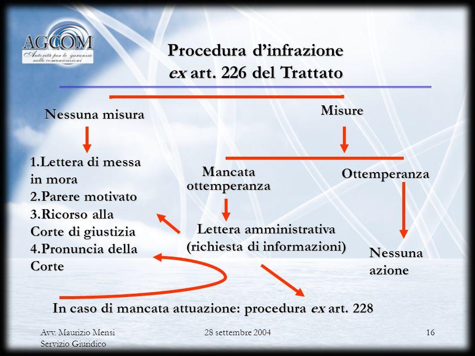 Procedura d'infrazione ex art. 226 del Trattato