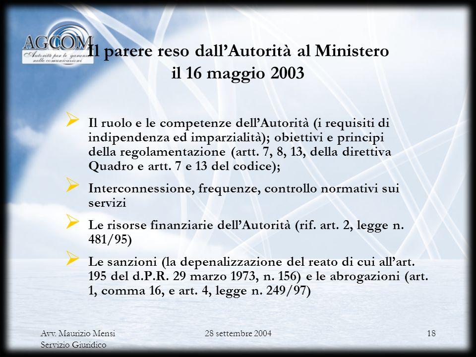 Il parere reso dall'Autorità al Ministero il 16 maggio 2003