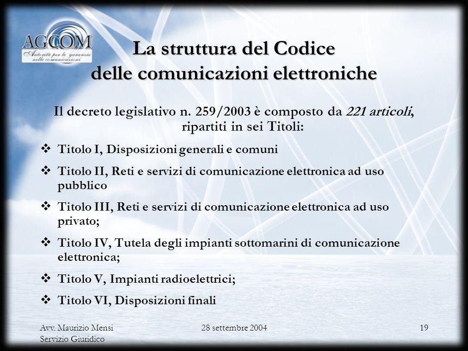 La struttura del Codice delle comunicazioni elettroniche