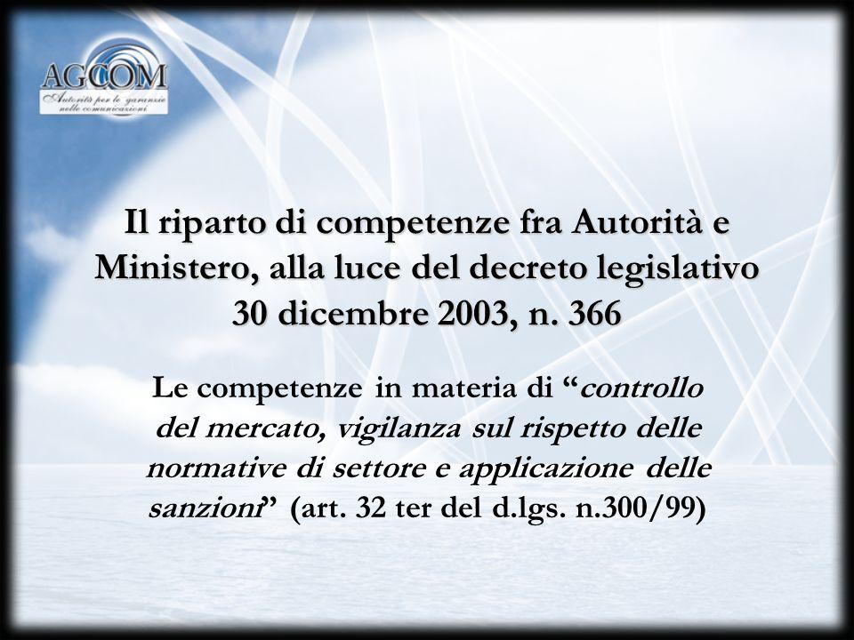 Il riparto di competenze fra Autorità e Ministero, alla luce del decreto legislativo 30 dicembre 2003, n. 366