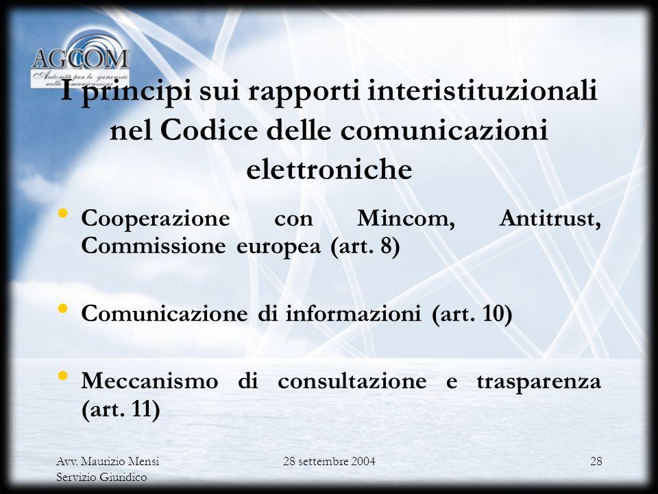 I principi sui rapporti interistituzionali nel Codice delle comunicazioni elettroniche