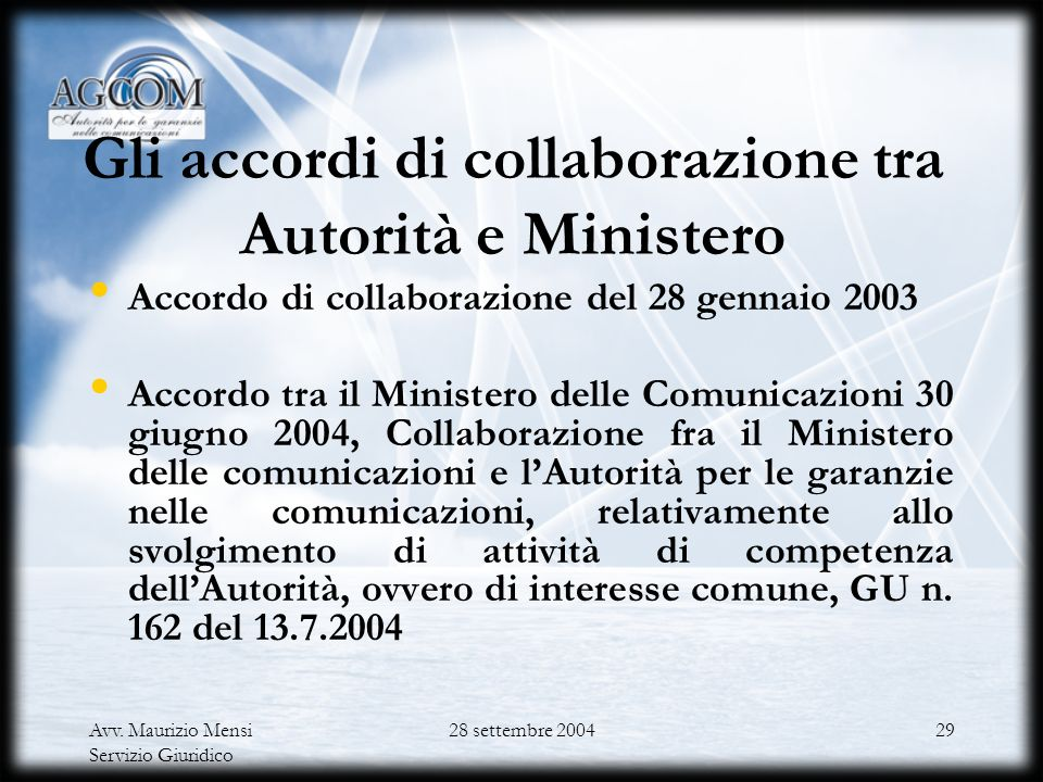 Gli accordi di collaborazione tra Autorità e Ministero