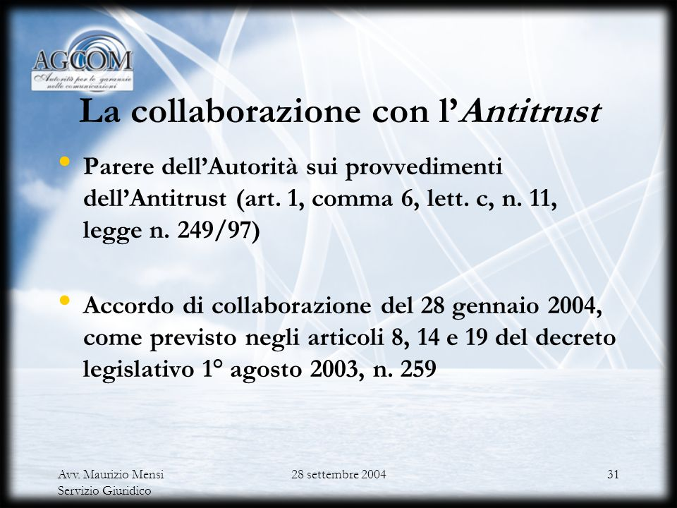La collaborazione con l'Antitrust