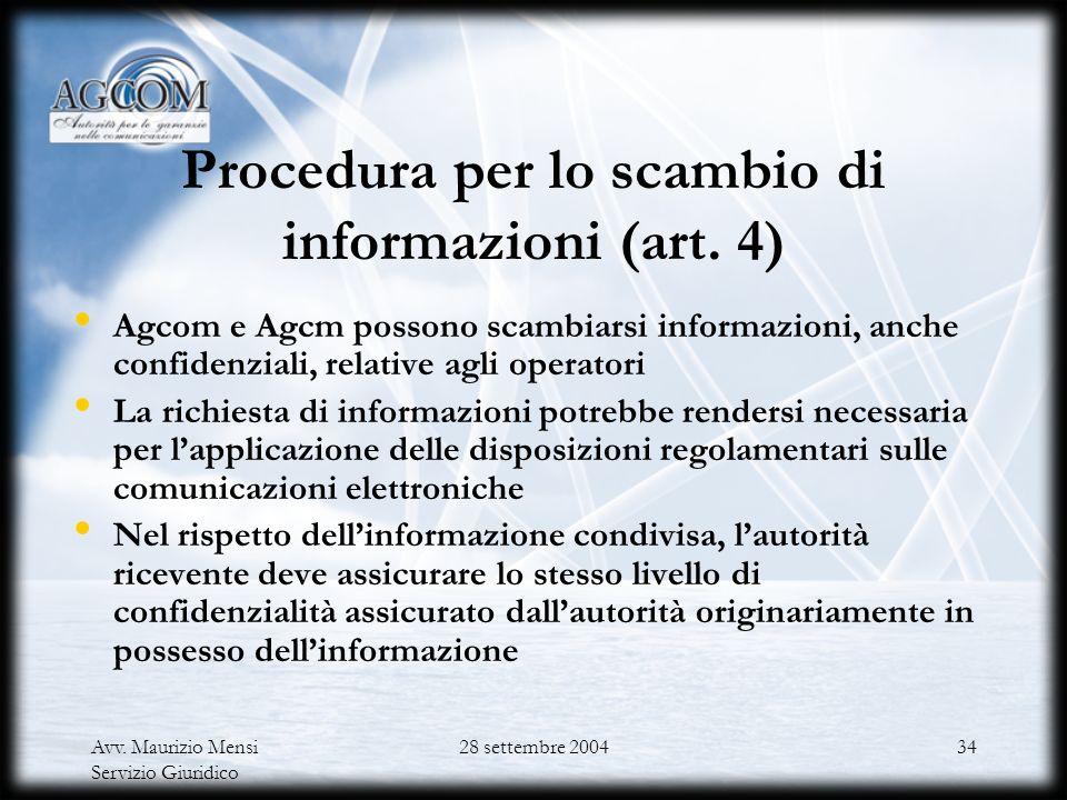 Procedura per lo scambio di informazioni (art. 4)