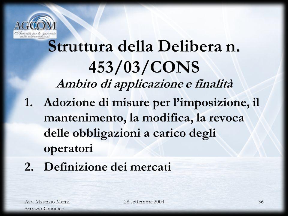 Struttura della Delibera n. 453/03/CONS