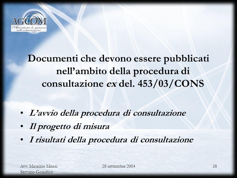 Documenti che devono essere pubblicati nell'ambito della procedura di consultazione ex del. 453/03/CONS