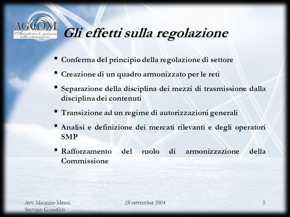 Gli effetti sulla regolazione