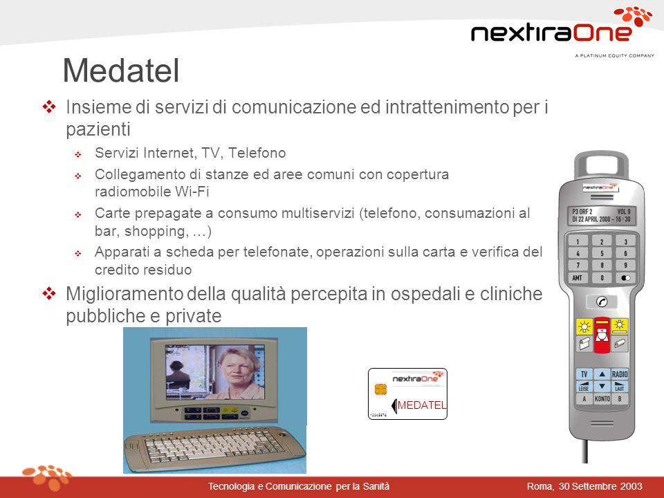 Medatel Insieme di servizi di comunicazione ed intrattenimento per i pazienti. Servizi Internet, TV, Telefono.