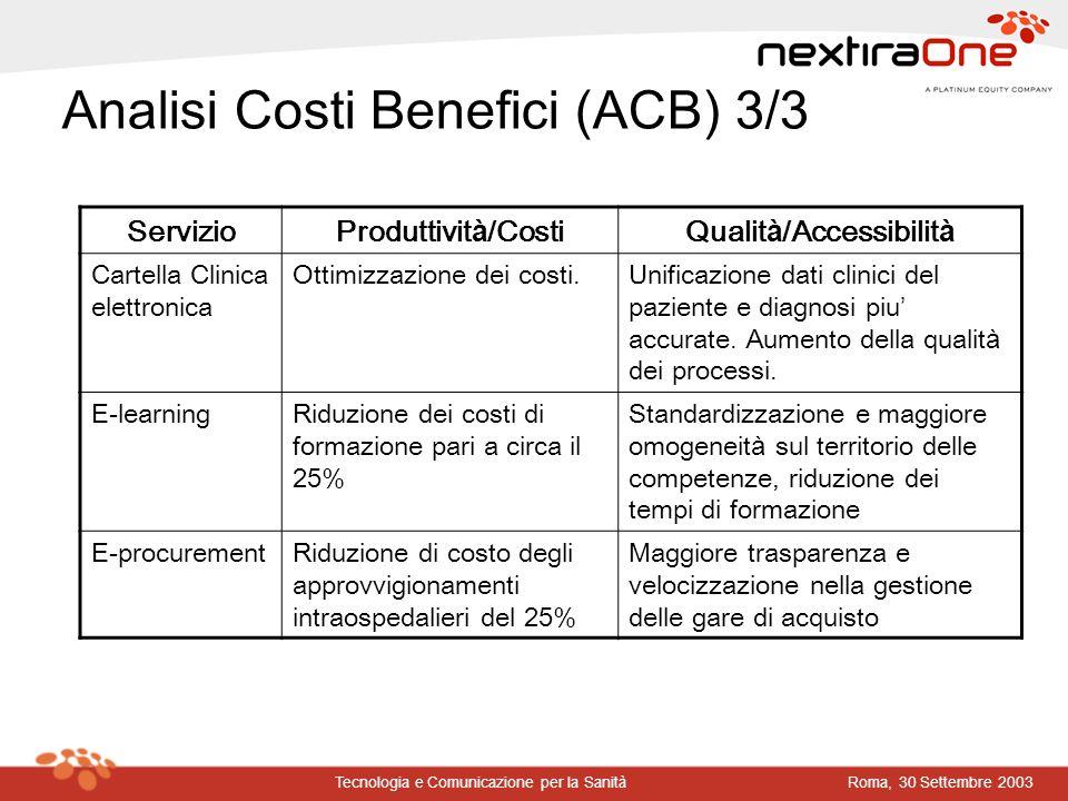 Analisi Costi Benefici (ACB) 3/3