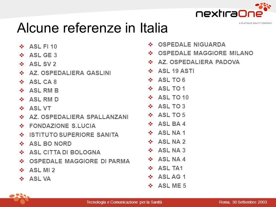 Alcune referenze in Italia