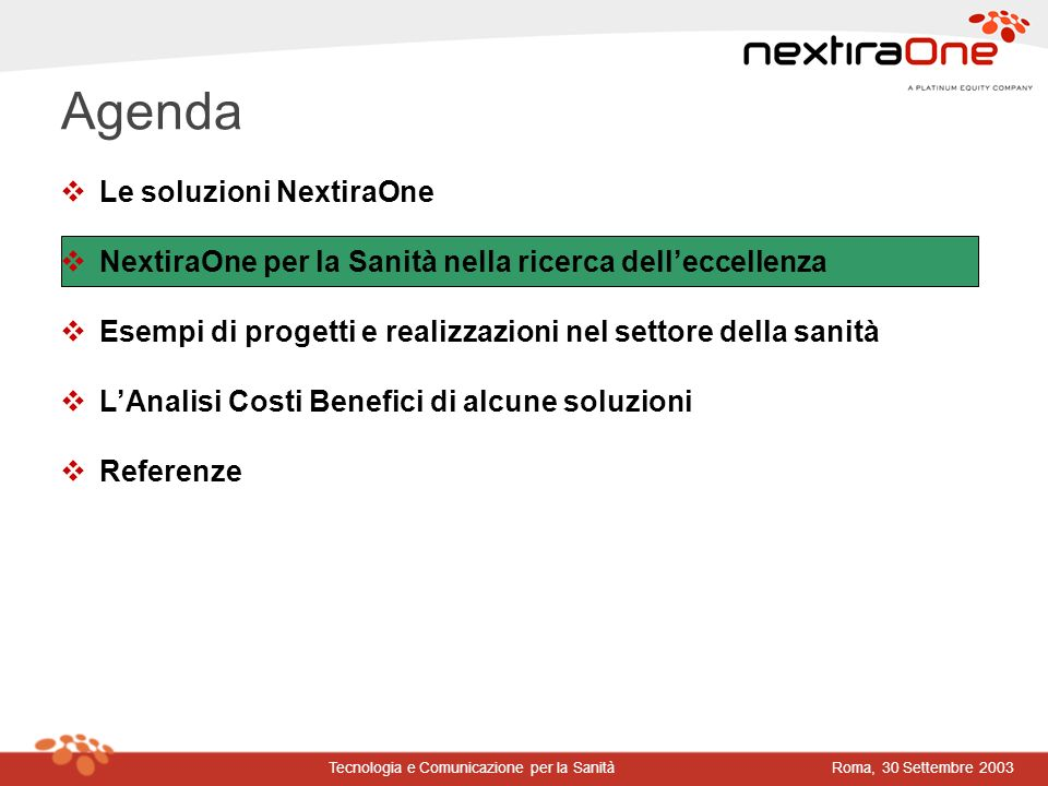 Agenda Le soluzioni NextiraOne