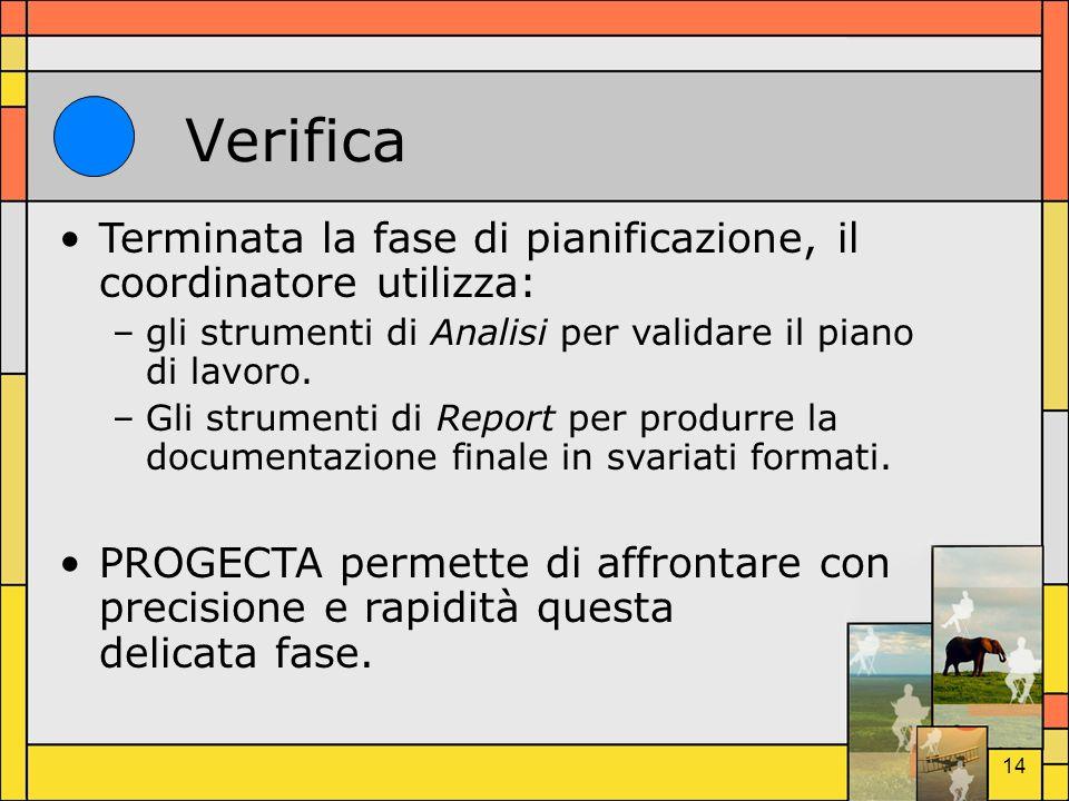 Verifica Terminata la fase di pianificazione, il coordinatore utilizza: gli strumenti di Analisi per validare il piano di lavoro.