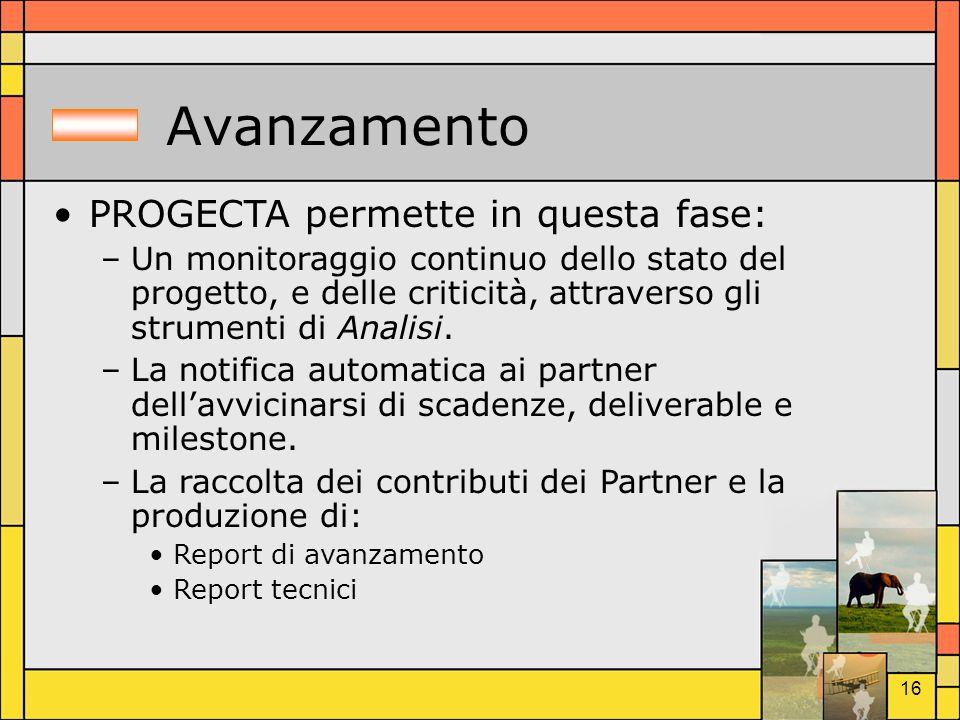 Avanzamento PROGECTA permette in questa fase: