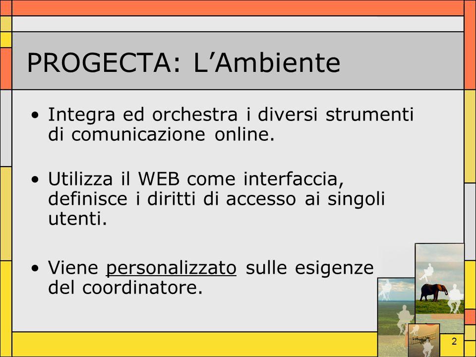 PROGECTA: L'Ambiente Integra ed orchestra i diversi strumenti di comunicazione online.
