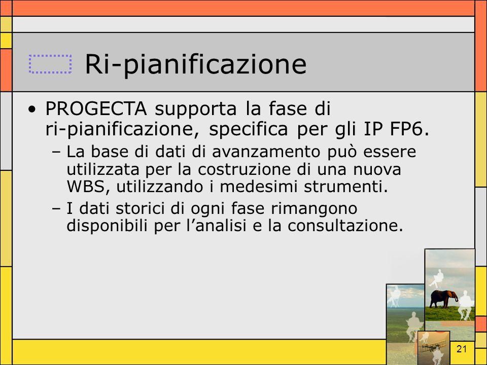Ri-pianificazione PROGECTA supporta la fase di ri-pianificazione, specifica per gli IP FP6.