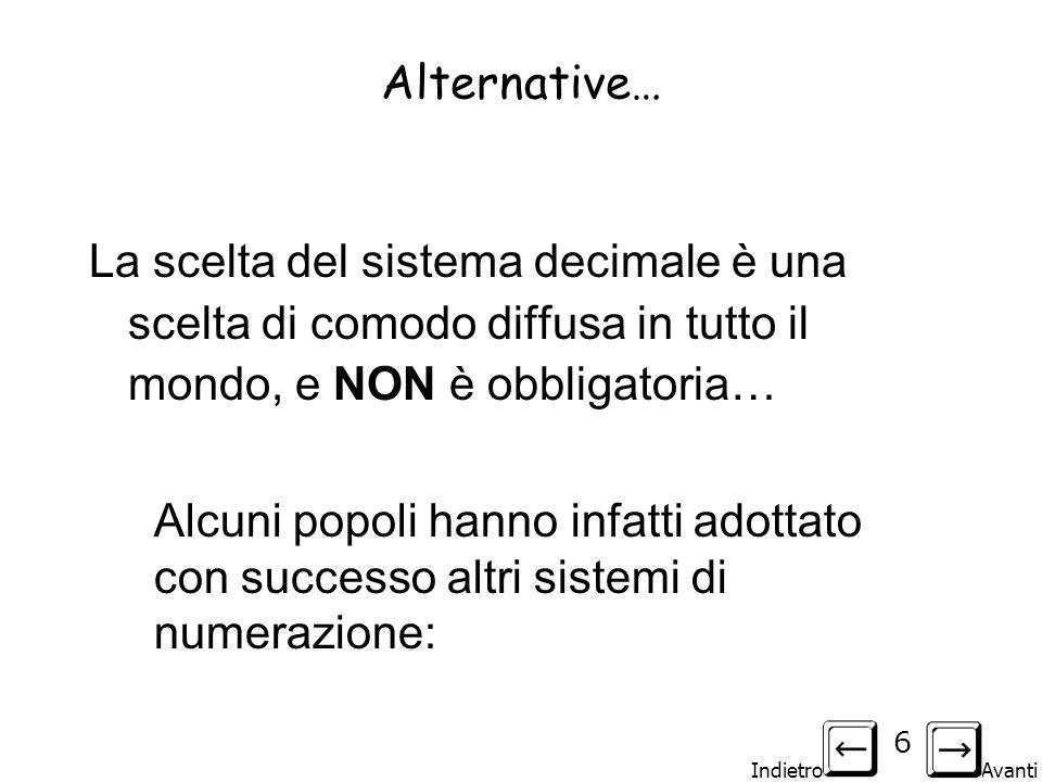Alternative… La scelta del sistema decimale è una scelta di comodo diffusa in tutto il mondo, e NON è obbligatoria…