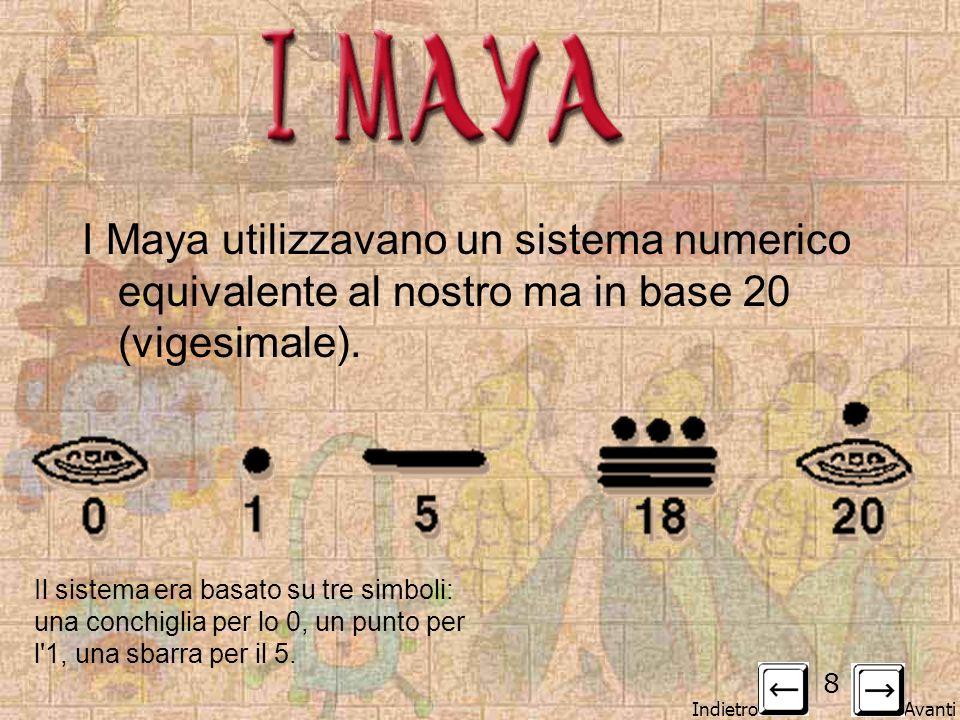 I MAYA I Maya utilizzavano un sistema numerico equivalente al nostro ma in base 20 (vigesimale).