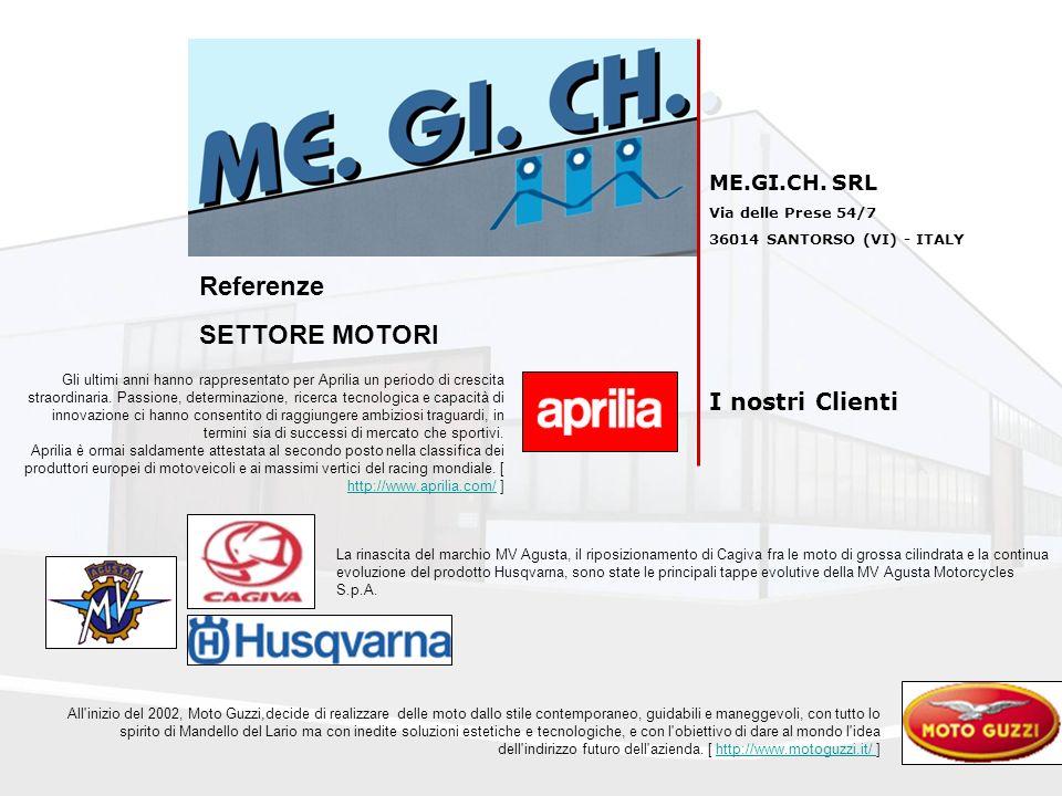 Referenze SETTORE MOTORI I nostri Clienti ME.GI.CH. SRL