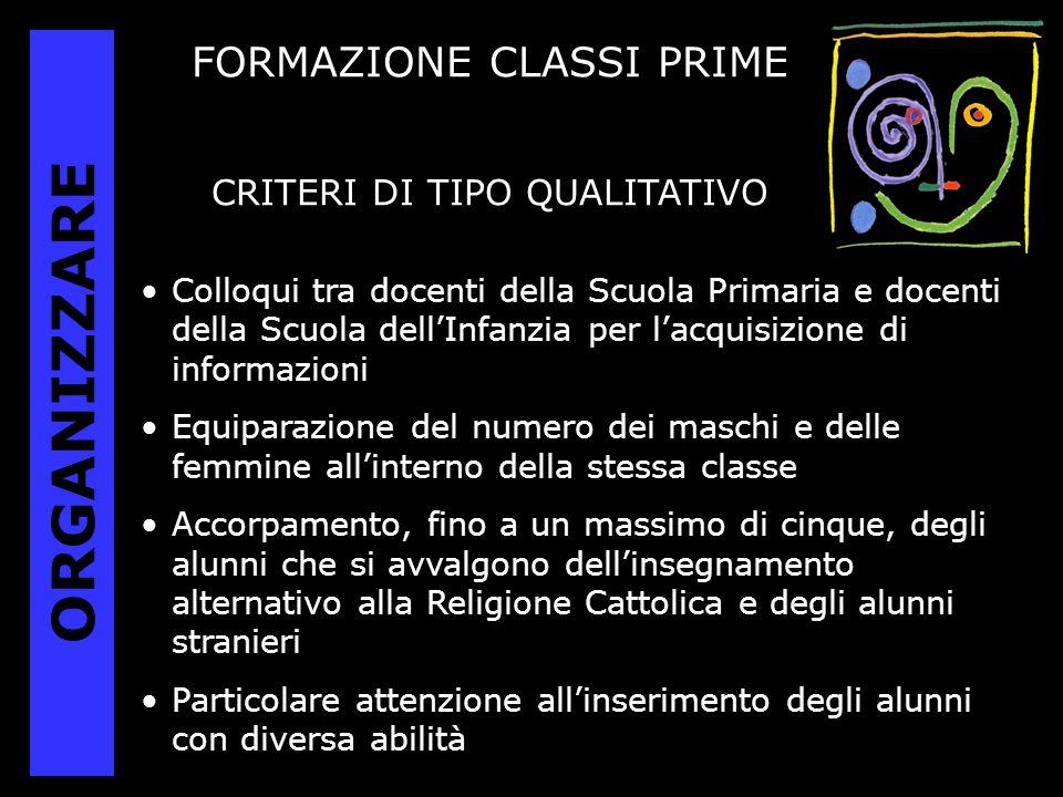 ORGANIZZARE FORMAZIONE CLASSI PRIME CRITERI DI TIPO QUALITATIVO