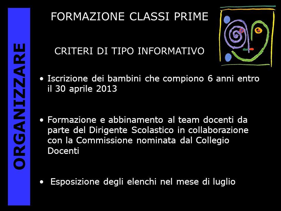 ORGANIZZARE FORMAZIONE CLASSI PRIME CRITERI DI TIPO INFORMATIVO