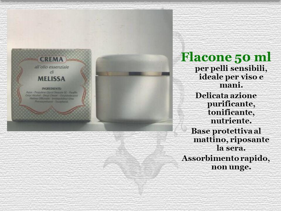 Flacone 50 ml per pelli sensibili, ideale per viso e mani.