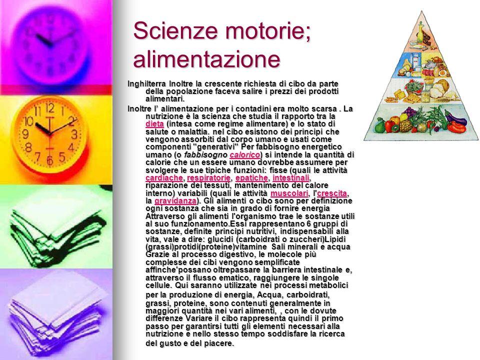 Scienze motorie; alimentazione