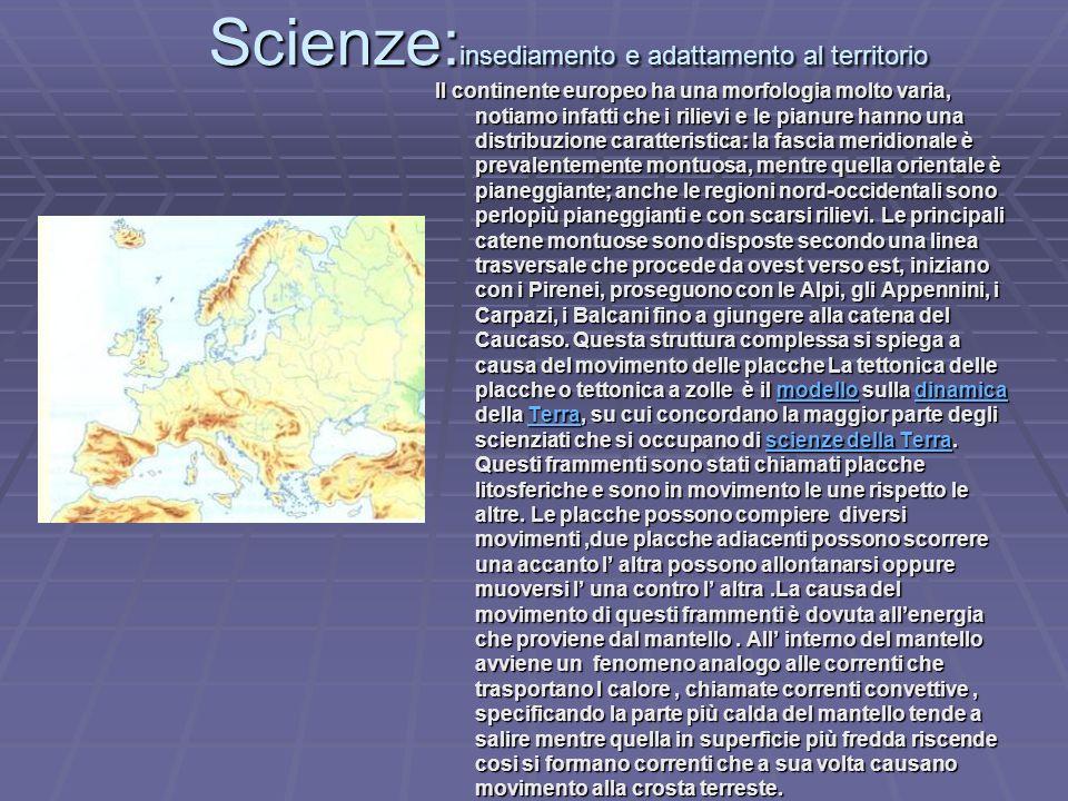Scienze:insediamento e adattamento al territorio