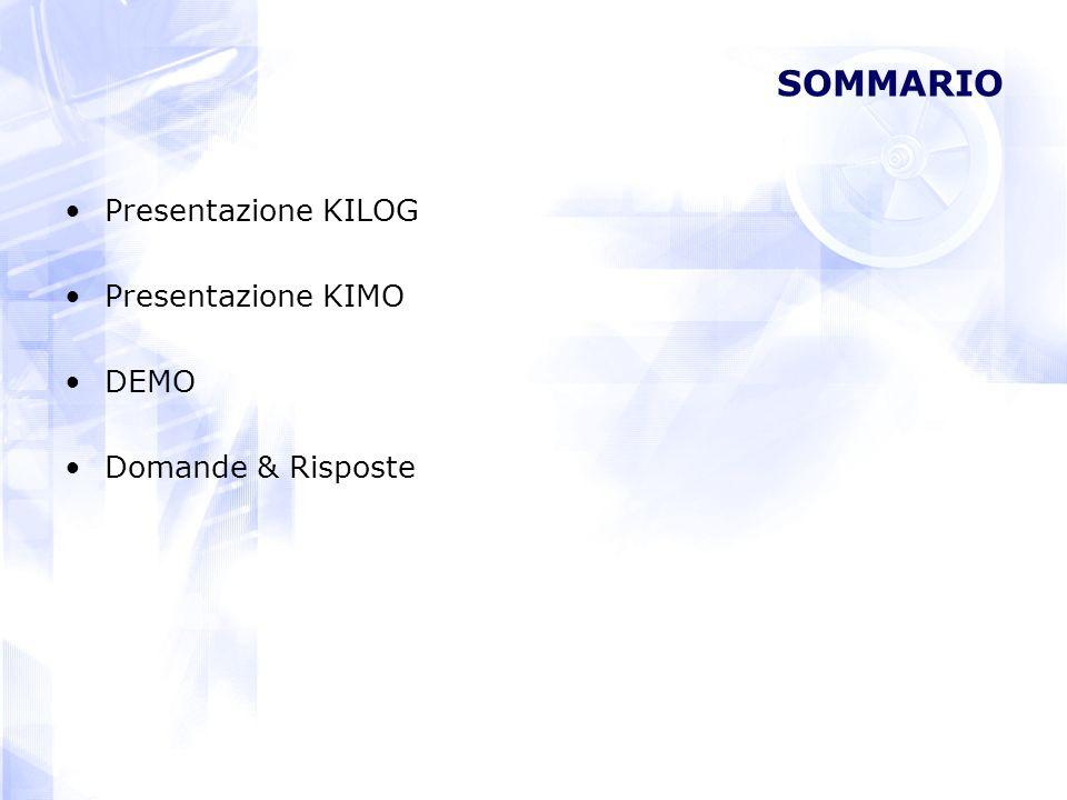 SOMMARIO Presentazione KILOG Presentazione KIMO DEMO