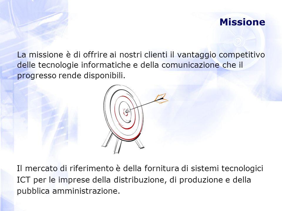 Missione La missione è di offrire ai nostri clienti il vantaggio competitivo. delle tecnologie informatiche e della comunicazione che il.