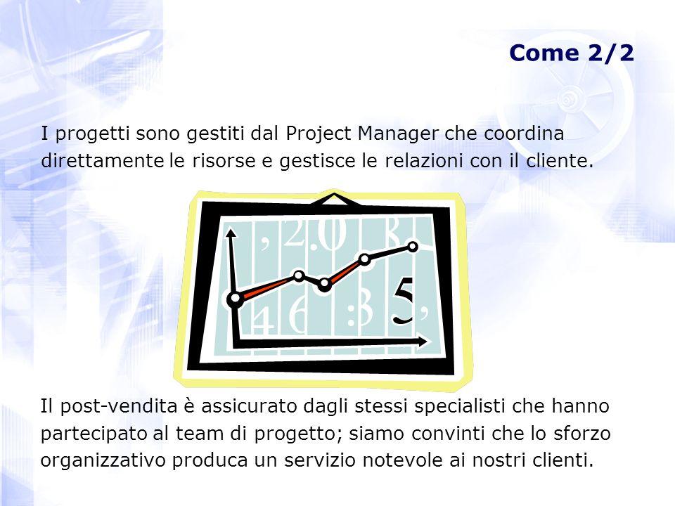Come 2/2 I progetti sono gestiti dal Project Manager che coordina