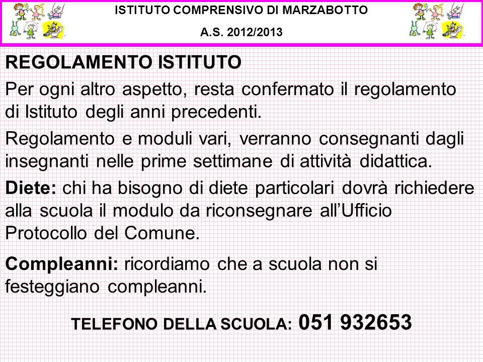 ISTITUTO COMPRENSIVO DI MARZABOTTO TELEFONO DELLA SCUOLA: 051 932653