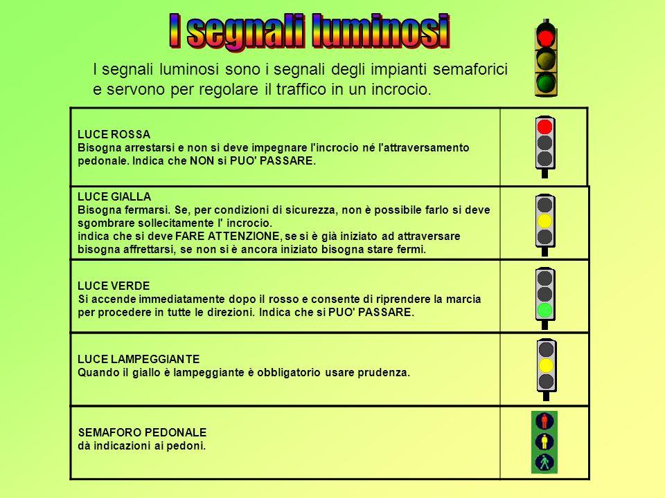 I segnali luminosi I segnali luminosi sono i segnali degli impianti semaforici e servono per regolare il traffico in un incrocio.
