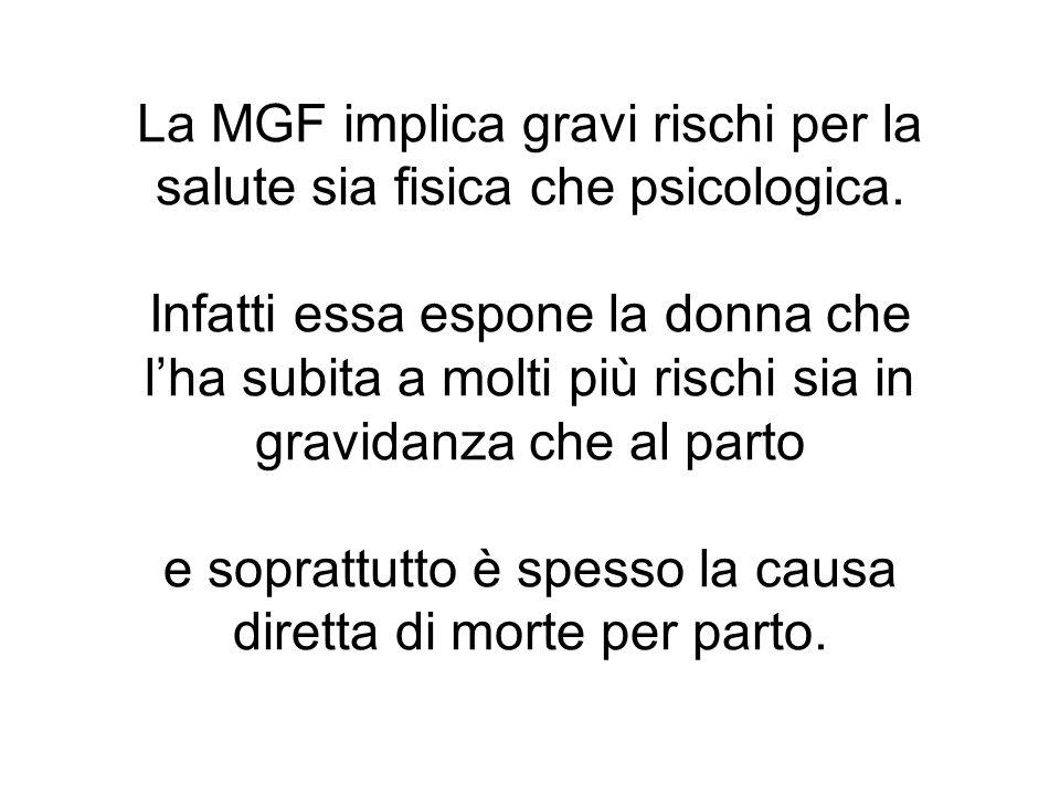 La MGF implica gravi rischi per la salute sia fisica che psicologica.